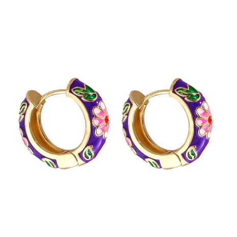 Großhandel Schmuck Blumenmuster Multicolor Kupfer vergoldete Ohrringe nihaojewelry NHJJ387182's discount tags