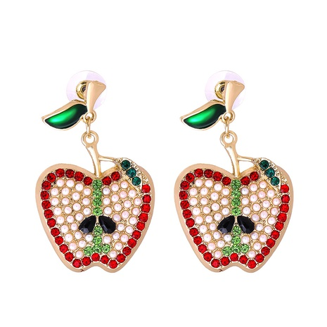 Großhandel Schmuck Apfel voller Diamantanhänger Ohrringe nihaojewelry NHJJ387185's discount tags