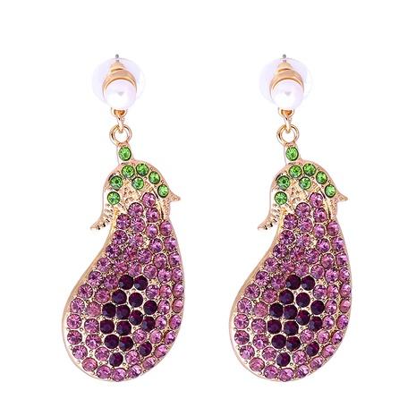 Großhandel Schmuck Gemüse Auberginen voller Diamant Ohrringe nihaojewelry NHJJ387187's discount tags