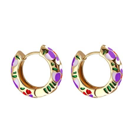 Großhandel Schmuck geometrisches Herzmuster mehrfarbige Kupfer vergoldete Ohrringe nihaojewelry NHJJ387193's discount tags