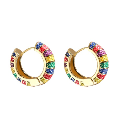 Großhandel Schmuck geometrisches Streifenmuster mehrfarbige Kupferohrringe nihaojewelry NHJJ387194's discount tags