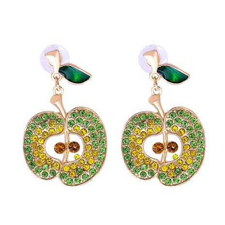 Großhandel Schmuck Obst Apfel voller Diamant Ohrringe nihaojewelry NHJJ387195's discount tags