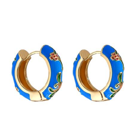 Großhandel Schmuck geometrisches Blumenmuster mehrfarbige Kupfer vergoldete Ohrringe nihaojewelry NHJJ387198's discount tags