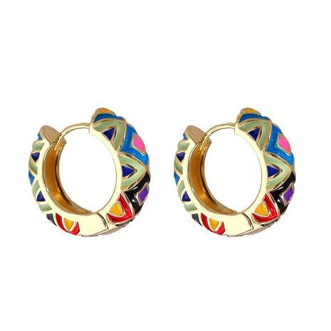 Großhandel schmuck geometrisches muster mehrfarbige kupfer vergoldete ohrringe nihaojewelry NHJJ387200's discount tags