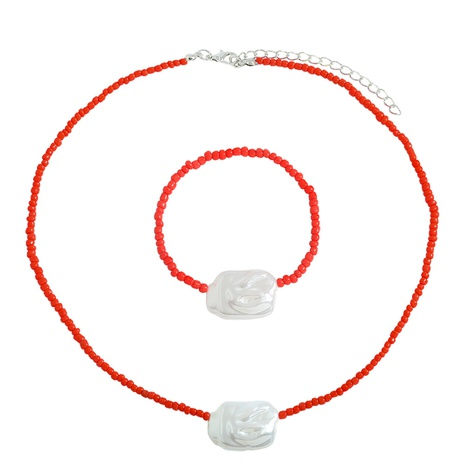 wholesale jewelry bohemian color rice bead necklace anklet set Nihaojewelry NHJQ387205's discount tags