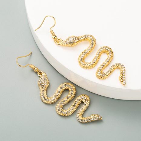 Großhandel Schmuck Legierung eingelegte Strass schlangenförmige Ohrringe Nihaojewelry NHLN387221's discount tags