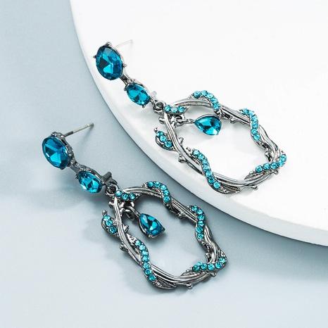 Großhandel Schmuck geometrische blaue Strass Ohrringe Nihaojewelry NHLN387230's discount tags