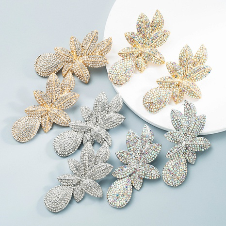 Großhandel Schmuck Blumen voller Diamantohrringe Nihaojewelry NHLN387237's discount tags