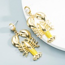 wholesale jewelry alloy inlaid pearl crayfish earrings Nihaojewelry NHLN387238