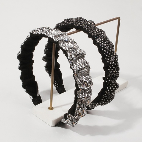 wholesale jewelry full diamond wide-brimmed wavy fold headband Nihaojewelry NHMD387273's discount tags