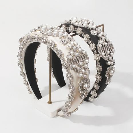 wholesale jewelry baroque diamond pearl flower sponge headband Nihaojewelry NHMD387317's discount tags