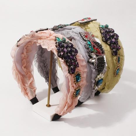 wholesale jewelry baroque fruit owl diamond broad-brimmed headband Nihaojewelry NHMD387315's discount tags