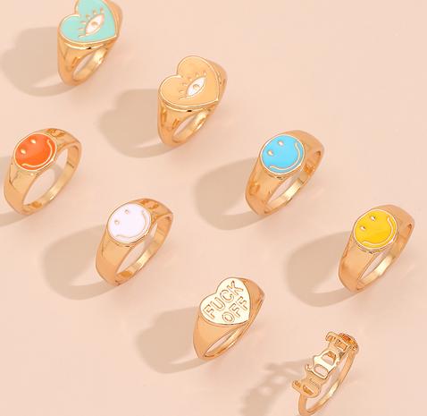 Nihaojewelry bijoux en gros bague en alliage dégoulinant de couleur de mode NHAJ387053's discount tags