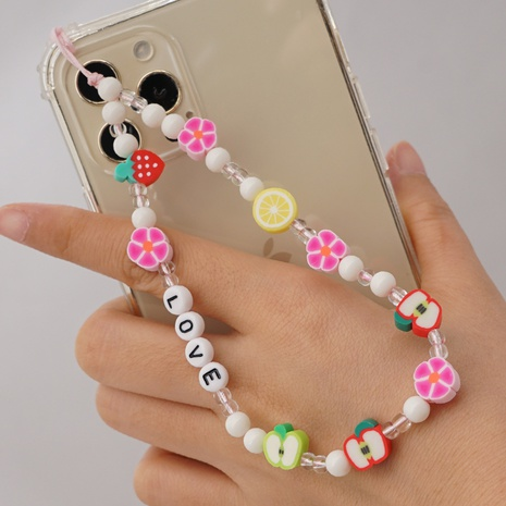 wholesale jewelry acrylic heart flowers and fruits round beads mobile phone lanyard Nihaojewelry NHYUZ377518's discount tags