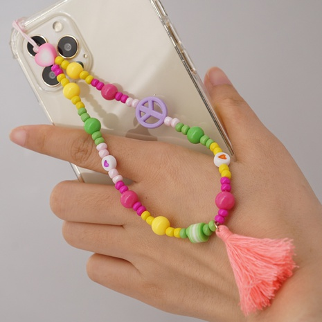 wholesale jewelry letter flower fruit round beads mobile phone lanyard Nihaojewelry NHYUZ377535's discount tags