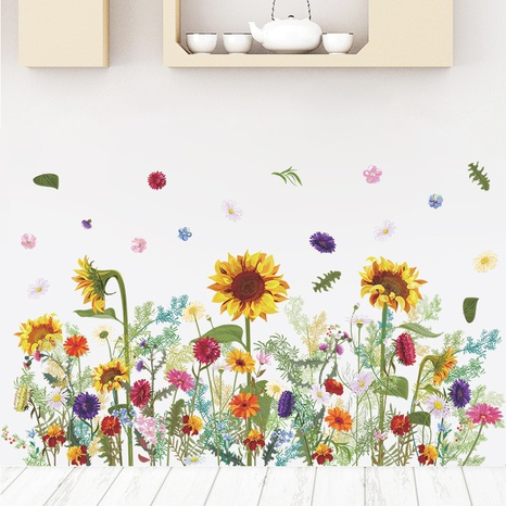 Nihaojewelry Wholesale Fashion Plant Sunflower Bedroom Entrance Wall Sticker NHAF377700's discount tags