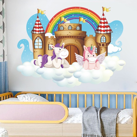 Nihaojewelry Wholesale Cute Unicorn Rainbow Castle Clouds Bedroom Entrance Wall Sticker NHAF377702's discount tags