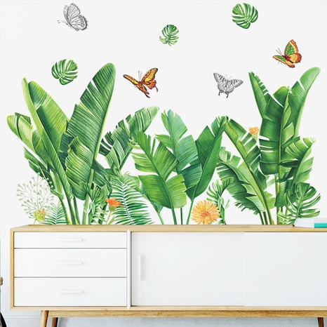 Nihaojewelry Wholesale Fashion Tropical Plant Turtle Leaf Butterfly Flower Bedroom Wall Sticker NHAF377701's discount tags