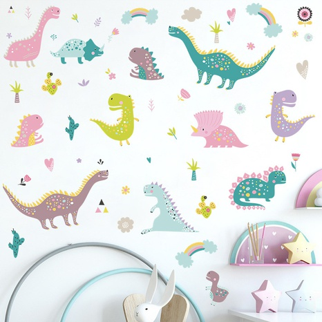 Nihaojewelry Wholesale Fashion Color Cartoon Dinosaur Rainbow Room Entrance Wall Sticker NHAF377708's discount tags