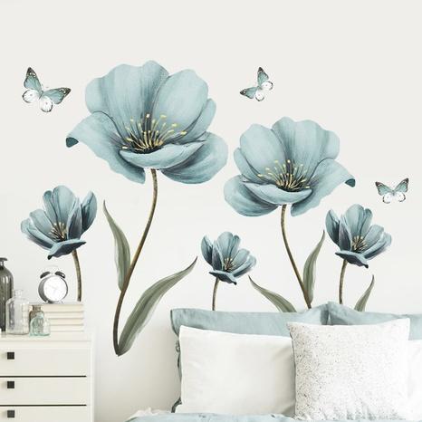 nihaojewelry Großhandel Mode blau gemalte Blumen Schlafzimmer Veranda Wandaufkleber NHAF377709's discount tags