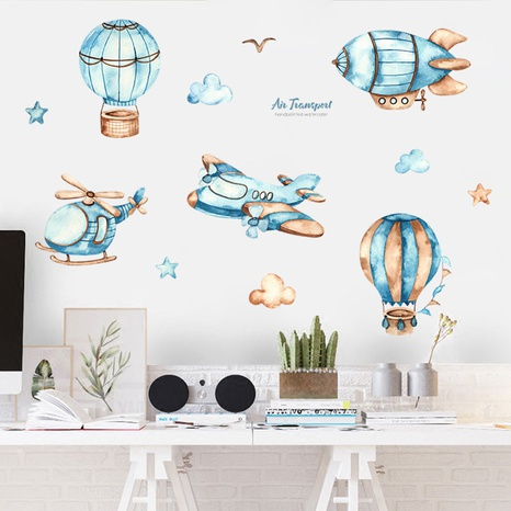 Nihaojewelry Wholesale Simple Cartoon Watercolor Airplane Hot Air Balloon Wall Sticker NHAF377711's discount tags