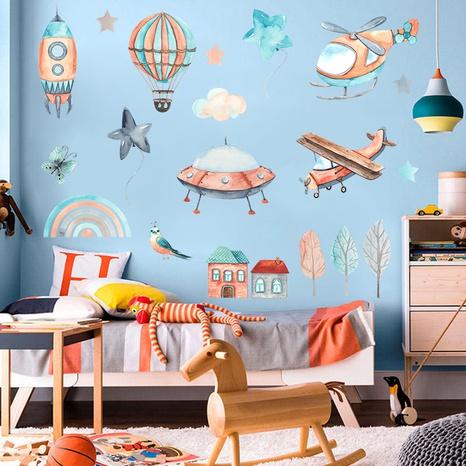 Nihaojewelry Wholesale Simple Cartoon Airplane Hot Air Balloon Spaceship Wall Sticker NHAF377712's discount tags