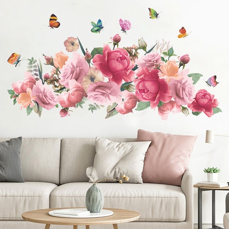 nihaojewelry wholesale fashion pink watercolor peony flower butterfly bedroom wall sticker NHAF377714's discount tags