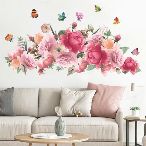 nihaojewelry Großhandel Mode rosa Aquarell Pfingstrose Blume Schmetterling Schlafzimmer Wandaufkleber NHAF377714's discount tags