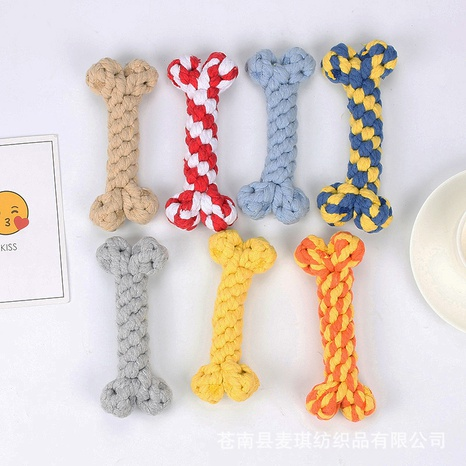 wholesale accessories bone shape woven cotton rope pet toy Nihaojewelry NHWY377747's discount tags