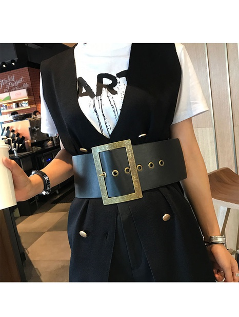 nihaojewelry Großhandel Mode Dornschließe schwarz breiter Gürtel NHJSR377754's discount tags