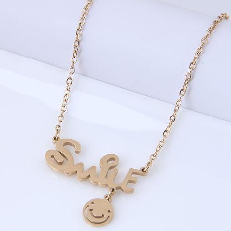 Nihaojewelry Schmuck Großhandel Korean Fashion Letter Smiley Titanstahl Halskette NHSC378711's discount tags