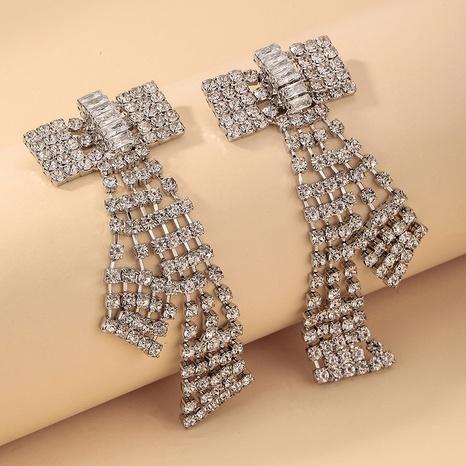 Nihaojewelry Großhandel Schmuck Mode eingelegte Strass Zirkon Bogen Ohrringe NHNJ387348's discount tags