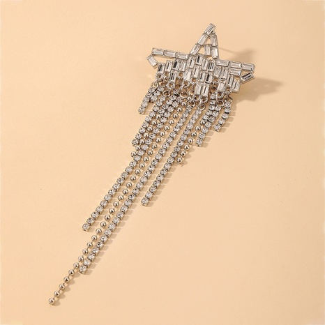 Nihaojewelry Großhandel Schmuck Mode fünfzackiger Stern Strass Zirkon Quaste Ohrringe NHNJ387349's discount tags