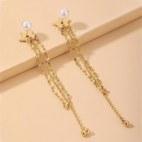 Nihaojewelry Großhandel Schmuck Mode Perle Stern Quaste lange Ohrringe NHNJ387354's discount tags