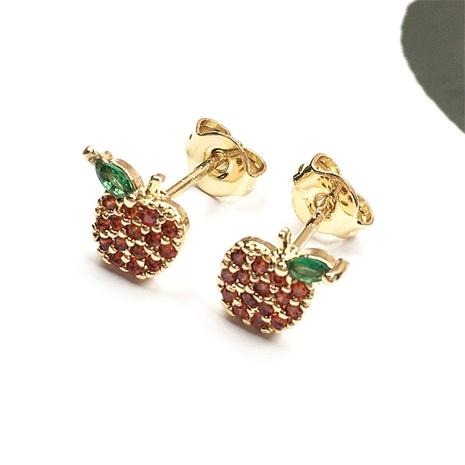 Nihaojewelry Großhandel Schmuck Mode Micro Intarsien Zirkon Apfel asymmetrische Ohrringe NHPY387363's discount tags