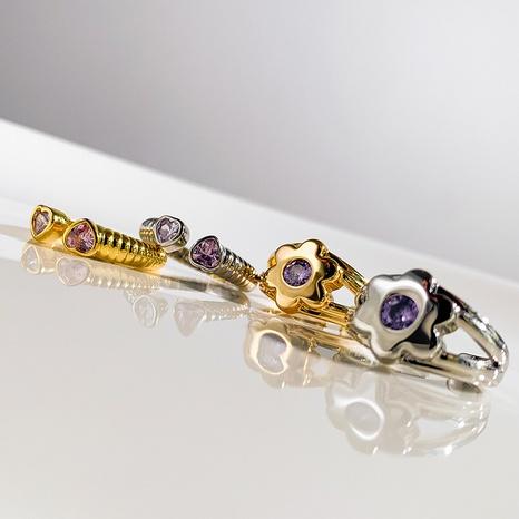 Al por mayor joyería flor circón anillo de cobre abierto Nihaojewelry NHGI387422's discount tags