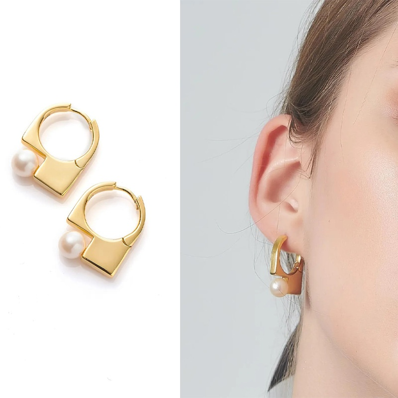 Nihaojewelry wholesale jewelry retro geometric pearl copper stud earrings   NHGI387429