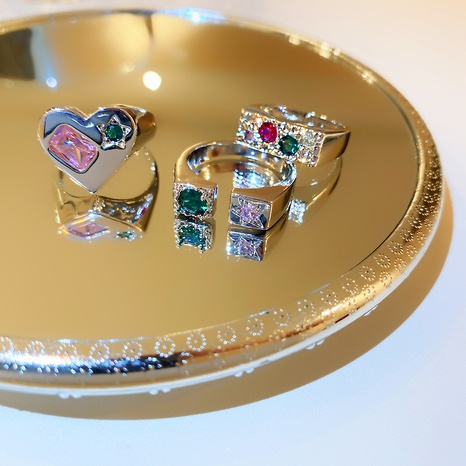 Anillo de circón con incrustaciones de cobre del corazón de la moda de la joyería al por mayor de Nihaojewelry NHGI387435's discount tags
