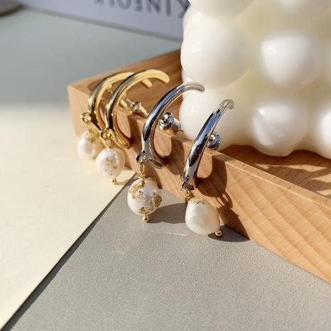 Pendientes de cobre de perlas de hoja de oro geométricos de joyería al por mayor de Nihaojewelry NHGI387439's discount tags