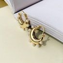 Nihaojewelry wholesale jewelry fashion geometric inlaid pearl copper earrings  NHGI387456