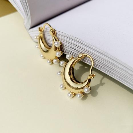Pendientes de cobre de perlas con incrustaciones geométricas de joyería al por mayor de Nihaojewelry NHGI387456's discount tags