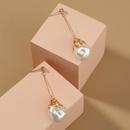 Nihaojewelry wholesale jewelry retro creative geometric pearl copper earrings  NHDB387471