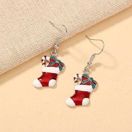 Nihaojewelry Großhandel Schmuck Mode Bogen Weihnachtsstrümpfe Kupfer Ohrhaken NHDB387533's discount tags