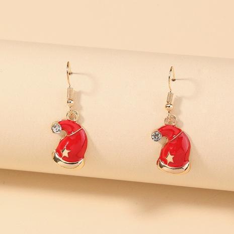Nihaojewelry Großhandel Schmuck Mode klassische rote und weiße Weihnachtsmützen Kupfer Ohrringe NHDB387536's discount tags