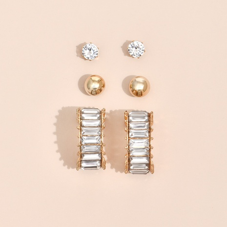 Nihaojewelry Großhandel Schmuck einfache geometrische Volldiamant-Ohrringe NHYAO387565's discount tags
