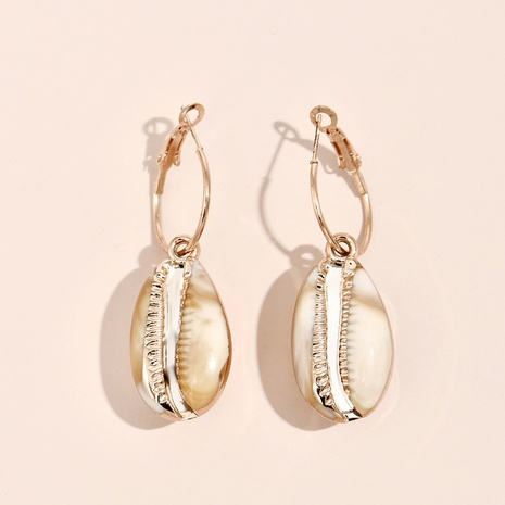 Großhandel Schmuck einfache lange Muschellegierung Ohrringe Nihaojewelry NHYAO387567's discount tags