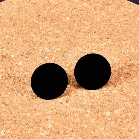 Nihaojewelry Großhandel Schmuck Mode Titanstahl 18K Gold Schwarz Kleines Stück Ohrstecker NHAB387635's discount tags