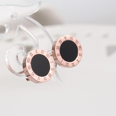 Nihaojewelry wholesale jewelry Korean Black Acrylic 18K Rose Gold Titanium Steel Stud Earrings  NHAB387637's discount tags