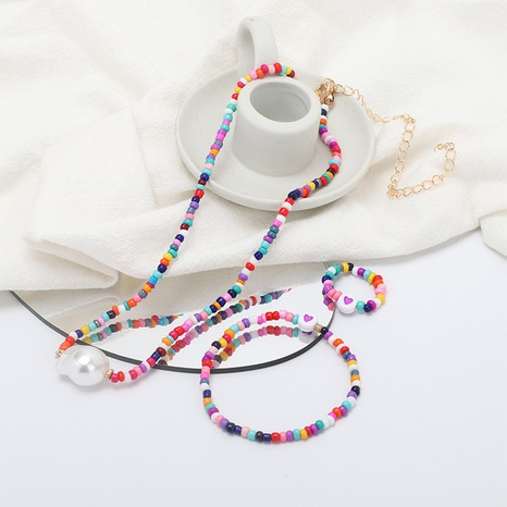 wholesale jewelry ethnic rice bead necklace bracelet ring set Nihaojewelry NHRN387638's discount tags