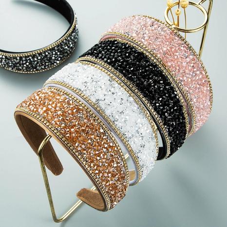 wholesale jewelry baroque flash diamond wide-brimmed headband Nihaojewelry NHLN387652's discount tags